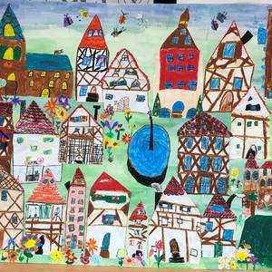 Bild Ausstellung Malwettbewerb 2019 Fuchshofschule Klasse 2b