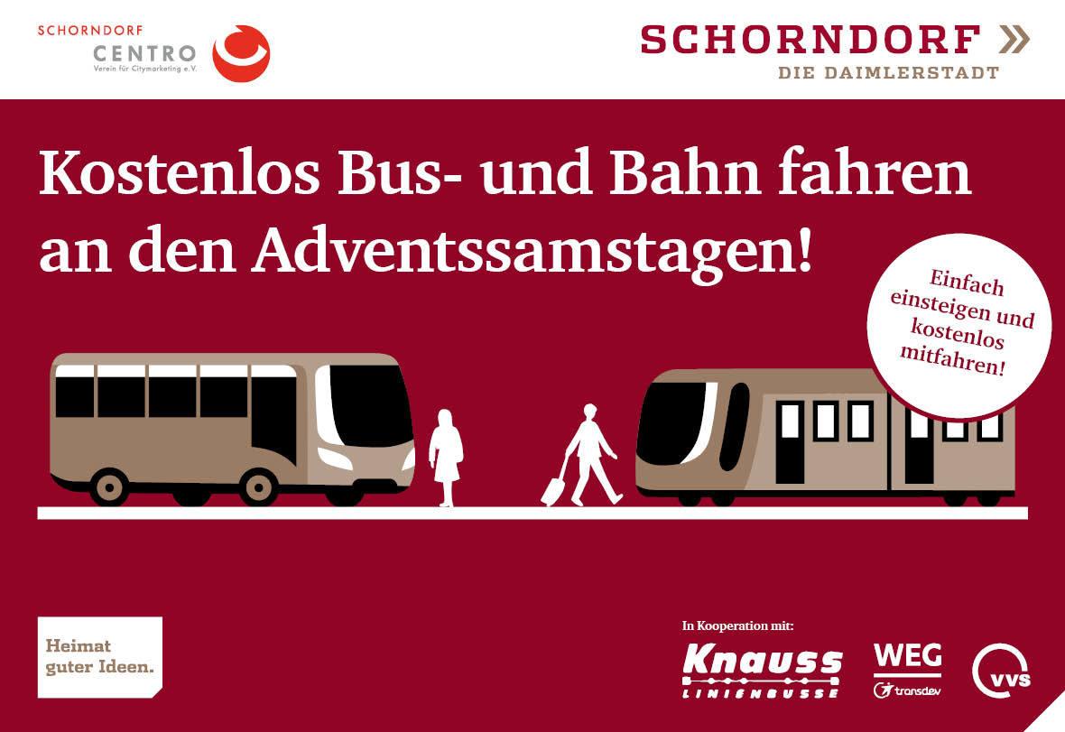 Kostenlos Bus- und Bahn fahren an den Adventssamstagen!