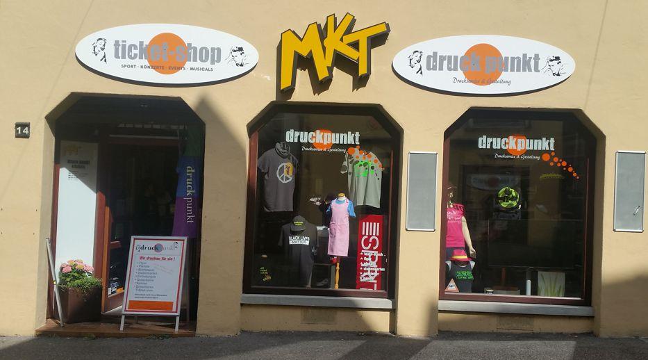 Ladenfront >druckpunkt MKT &tickets<